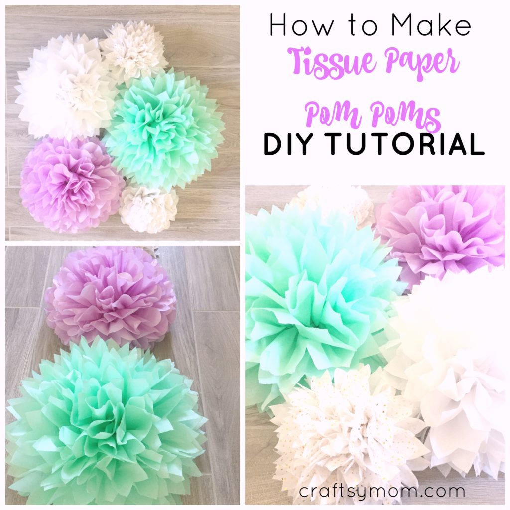 how to make tissue paper pom poms tutorial